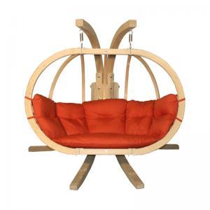 Dvojité závěsné houpací křeslo O-Zone Premier Swing Pod červené se stojanem