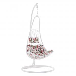Závesné kreslo, biela/so vzorom kvetov, KALEA NEW, rozbalený tovar